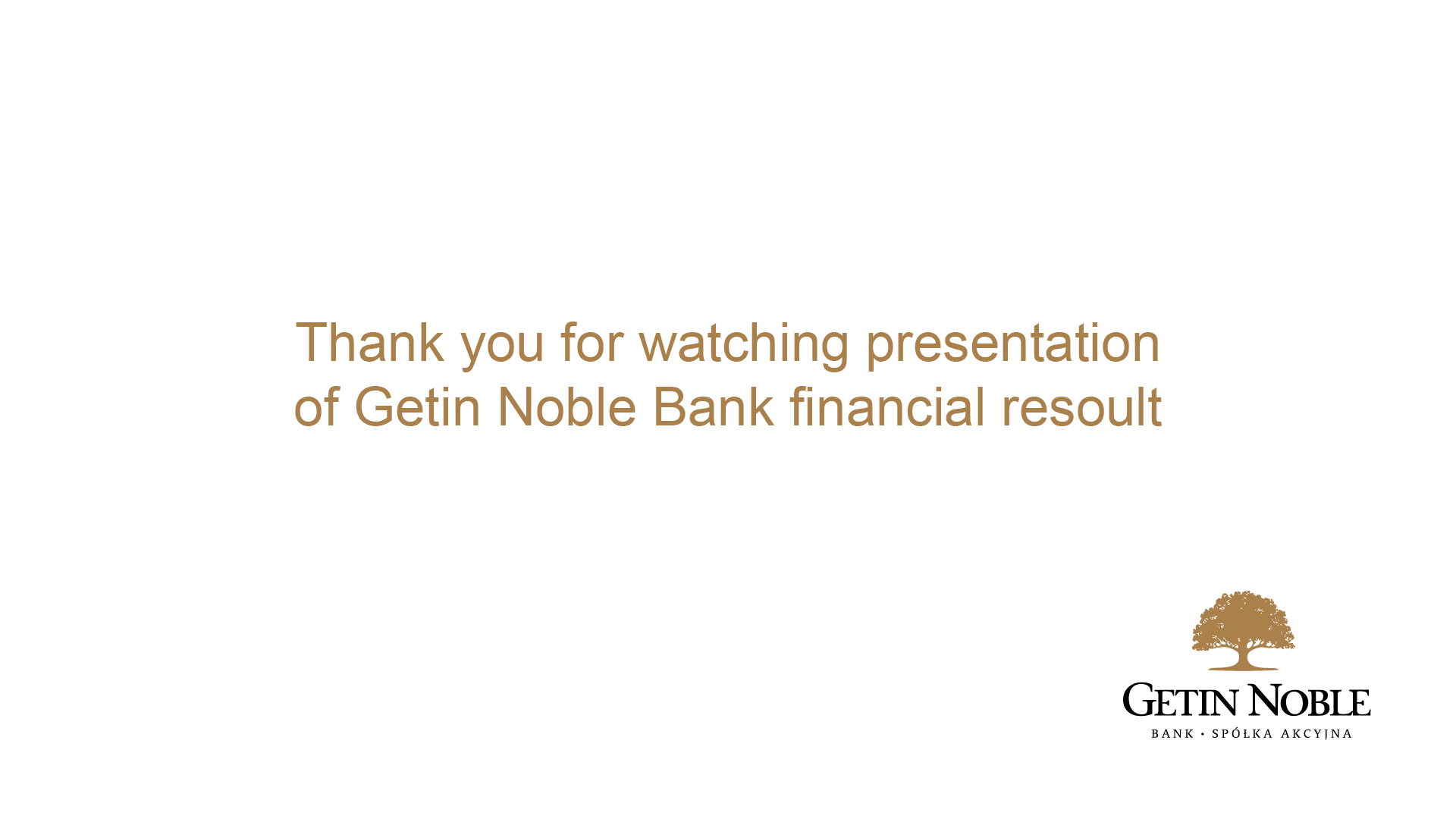 Presentation of Getin Noble Bank financial  results for 3Q of 2014 r.